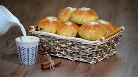 Easter Hot Cross Buns in a Basket. Pour milk into a Cup. HD stock video footage