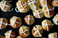 Easter hot cross buns on black. Top view Royalty Free Stock Image