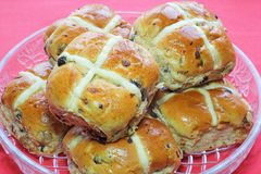 Easter hot cross buns in a dish. Stock Photography