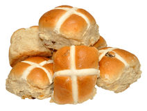 Easter Hot Cross Buns. Traditional Easter hot cross buns, isolated on a white background Stock Photos