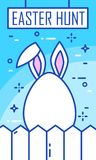 Easter Hunt banner with rabbit ears, egg and fence on blue background. Thin line flat design. Vector card vector illustration