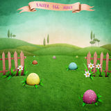 Easter hunt eggs. Festive greeting card or  poster with  green rustic landscape, and Easter eggs. Computer graphics Stock Photo