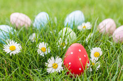 Easter hunt in the garden Royalty Free Stock Photos