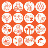 Easter icon set. Set of easter icons on white background royalty free illustration