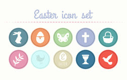 Easter icon set vector Stock Photos