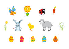 Easter icon on white background. Set Isolated on white background. Easter cartoon. Vector illustration of Easter. Easter set characters. Easter vector icons Royalty Free Stock Image