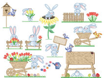Easter icons with bunnies Royalty Free Stock Images