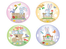 Easter icons with bunnies Royalty Free Stock Image