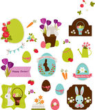 Easter icons. Labels, stickers and tags design. Isolated over white Stock Image