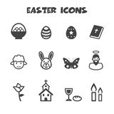 Easter icons. Mono vector symbols Royalty Free Stock Photo