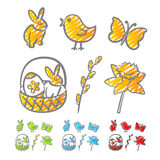 Easter icons scribble Royalty Free Stock Photo