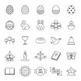 Easter icons set - black and white Stock Images