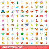 100 easter icons set, cartoon style. 100 easter icons set in cartoon style for any design vector illustration Vector Illustration