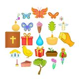 Easter icons set, cartoon style. Easter icons set. Cartoon set of 25 easter vector icons for web isolated on white background Royalty Free Stock Photography