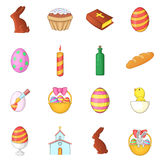Easter icons set, cartoon style Stock Photo