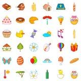 Easter icons set, cartoon style Royalty Free Stock Photo