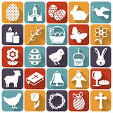 Easter icons. Set of flat vector symbols. Happy Easter! Set of 25 flat holidays, religious and concept symbols with long shadow. Collection of silhouette white Stock Images