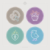 Easter. Icons and symbols of the Christian Easter rituals, from left to right, top to bottom Royalty Free Stock Photo
