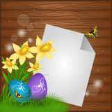 Easter illustrated background. Easter background with blank paper sheet and easter eggs and daffodils in corner Stock Photos