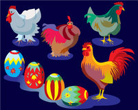 Easter illustration. Farmyard with easter eggs and chickens with rooster Stock Photos