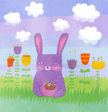 Easter illustration. Cute easter illustration with violet rabbit on it Royalty Free Stock Images