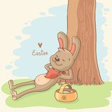 Easter Illustration with bunny Royalty Free Stock Photos