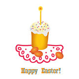 Easter. Illustration with cake and painted eggs Stock Images
