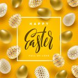 Easter illustration with calligraphic greeting and Easter eggs Stock Images