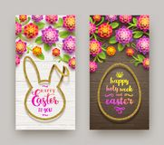 Easter illustration. Easter calligraphic greeting in glitter gold  frame and  flowers on a wooden background. Greeting ba. Easter greeting illustration. Easter Royalty Free Stock Image