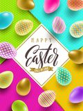 Easter illustration with calligraphic greeting and multicolored painted Easter eggs. Easter vector illustration with calligraphic greeting and multicolored Royalty Free Stock Photo