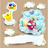 Easter illustration with chick and eggs on cardboard background Royalty Free Stock Photo
