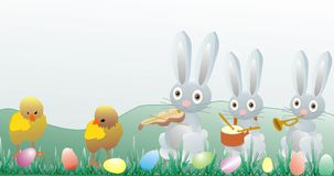 Easter illustration - chickens and bunny Royalty Free Stock Photography