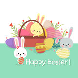 Easter illustration with colored eggs and cute bunnies on spring Royalty Free Stock Images