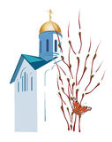 Easter illustration with Orthodox church Stock Photos
