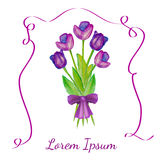 Easter illustration. Purple tulips with a purple bow. Vector flowers. Purple tulips with a purple bow. Tulips bouquet with violet ribbon. Spring flowers. Easter Stock Images