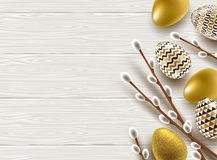 Easter illustration. Pussy-willow branches, paint decorated eggs. On a wooden desktop Stock Image