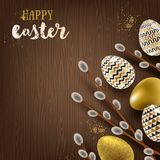Easter illustration. Pussy-willow branches and paint decorated eggs. On a wooden desktop Stock Photography