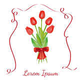 Easter illustration. Red tulips with a red bow. Vector flowers. Red tulips with a red bow. Tulips bouquet with red ribbon. Spring flowers. Easter flowers Royalty Free Stock Images