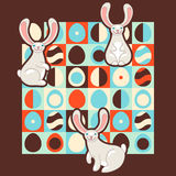Easter illustration with retro style eggs and cute bunnies Stock Image