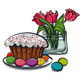 Easter. Illustration of easter still life with flowers Royalty Free Stock Image