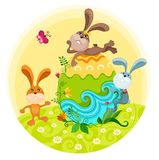Easter illustration. Easter illustration with a tree cute rabbits Stock Photo