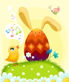 Easter illustration. With a tree cute rabbits Royalty Free Stock Photo