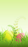 Easter Illustration. Vector. Colourful easter eggs on gras. Vector illustration royalty free illustration