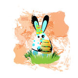 Easter illustration for your design egg-rabbit. Easter illustration for your design. Cheerful egg-rabbit symbol of a happy Easter on a watercolor background Royalty Free Stock Photography