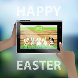 Easter . Illustration for your design. Tablet smart phone in human hands. Funny rabbits - eggs on the background of a wooden fence. Hares with food and soda Stock Images