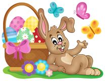 Easter image with cute bunny theme 1 Stock Image