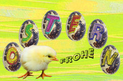 Easter image with eggs and chicks Royalty Free Stock Images