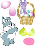 Easter Images. Bunny, basket, and eggs - ready for promotions or greeting cards Stock Photo