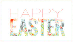 Easter inscription  Linear style Stock Photos