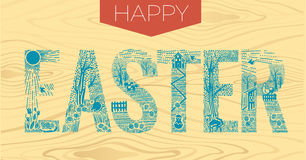 Easter inscription  Linear style 2 Stock Image